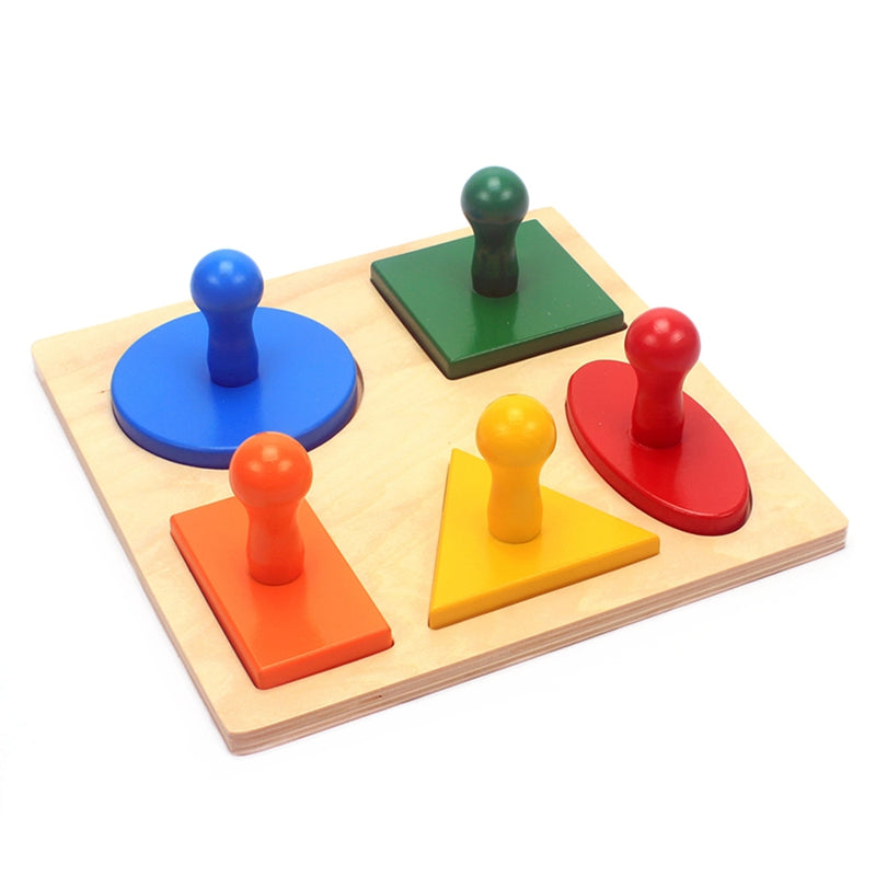 Montessori Teaching Aids: Five Types Of Geometric Shapes Board
