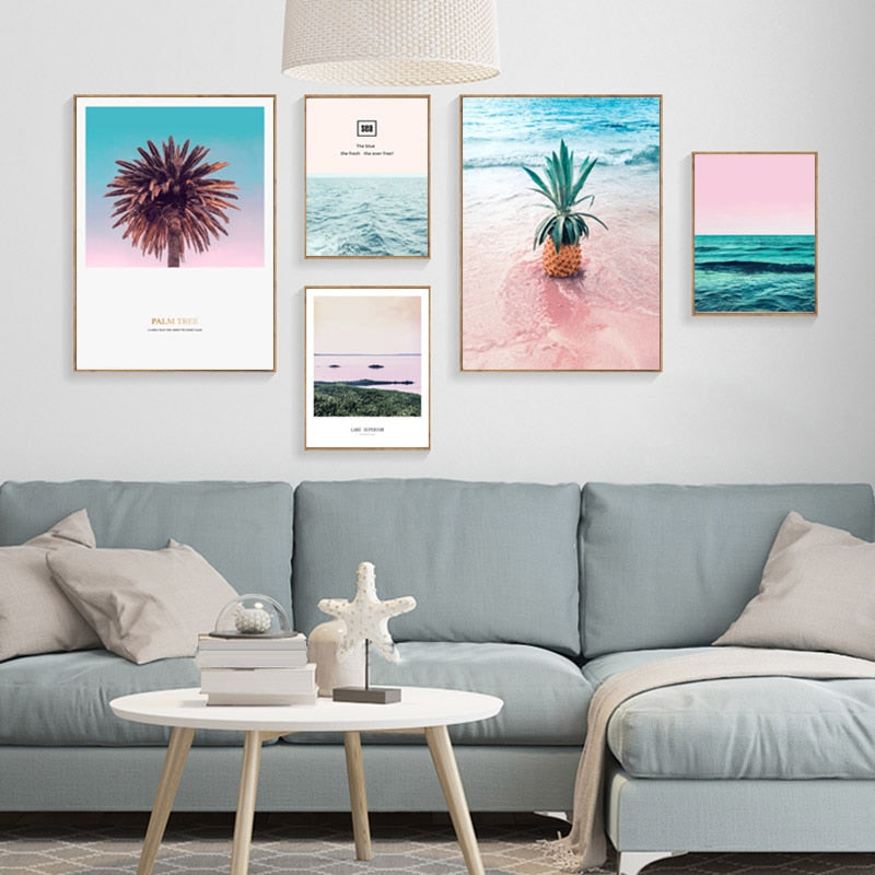 Pineapple Pink Tree Painting Seawater Canvas Art Wall
