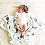 70% Bamboo 30% Cotton Baby Muslin Swaddle Blanket - Plants