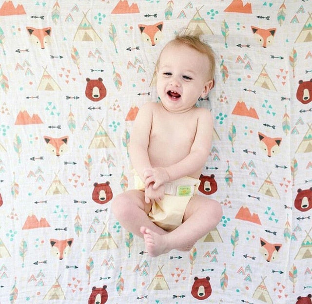 70% Bamboo 30% Cotton Baby Muslin Swaddle Blanket - Bear