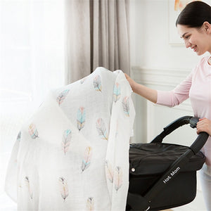 70% Bamboo 30% Cotton Baby Muslin Swaddle Blanket - Feathers