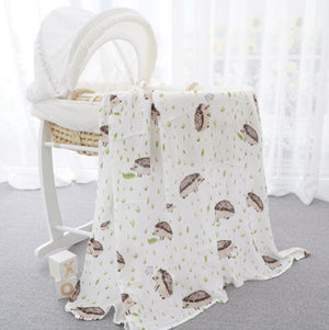 70% Bamboo 30% Cotton Baby Muslin Swaddle Blanket - Hedgehog