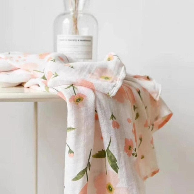 70% Bamboo 30% Cotton Baby Muslin Swaddle Blanket - Pink Flower