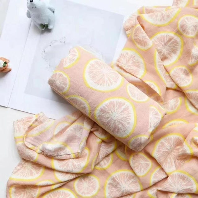 70% Bamboo 30% Cotton Baby Muslin Swaddle Blanket - Lemon
