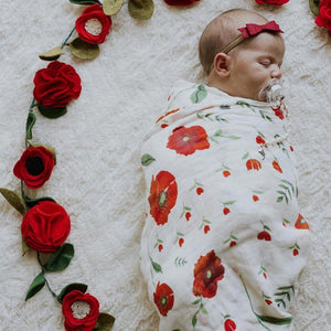 70% Bamboo 30% Cotton Baby Muslin Swaddle Blanket - Red