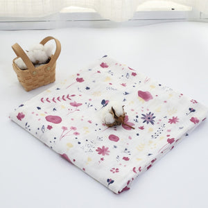 70% Bamboo 30% Cotton Baby Muslin Swaddle Blanket - Purple Flower