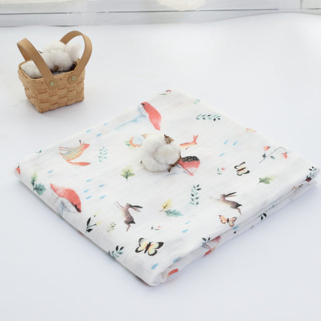 70% Bamboo 30% Cotton Baby Muslin Swaddle Blanket - Forest Animals