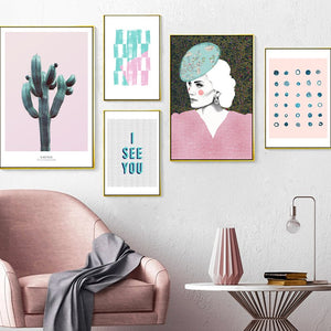 Nordic Abstract Pattern Girl Portrait Photo Decoration Mural - 13X18Cm No Frame / 5 Pcs Set