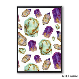 Nordic Crystals Watercolor Canvas Picture - 13X18Cm No Frame / 1
