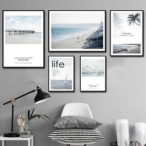 Modern Nordic Decorative Seaside Landscape Canvas Painting - 20X25Cm No Frame / 5Pcs Set