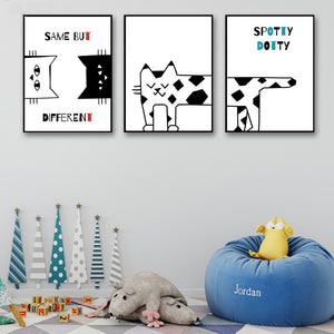 Cartoon Cat Prints Picture For Baby Room - 20X25Cm No Frame / 3 Pcs Set