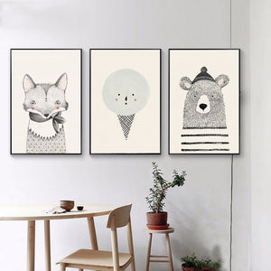 Nordic Art Bear & Fox Canvas Painting