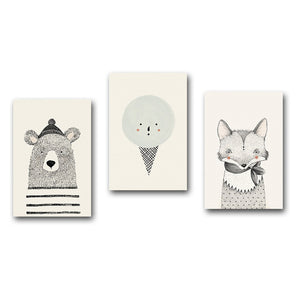 Nordic Art Bear & Fox Canvas Painting - 20X25Cm No Framed / 3Pcs