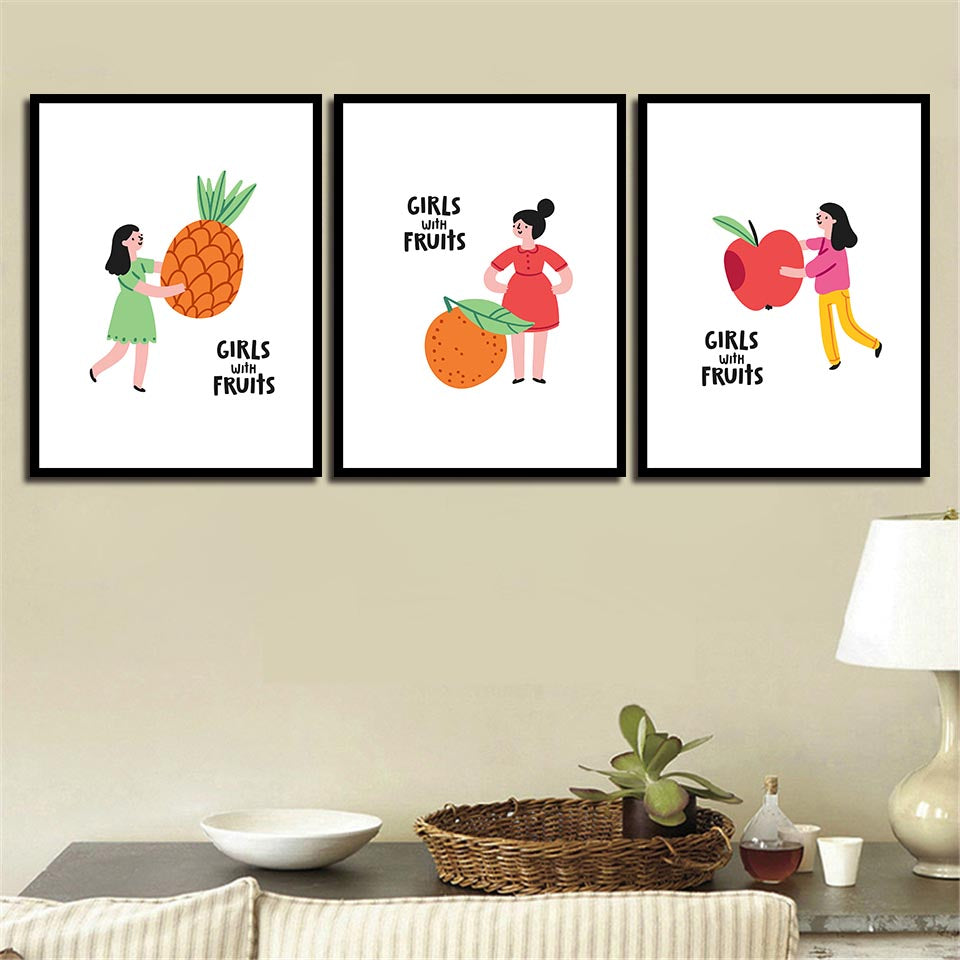 Nordic Watercolor Delicious Fruit And Beautiful Girl Canvas Painting