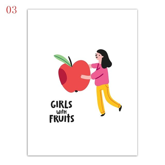 Nordic Watercolor Delicious Fruit And Beautiful Girl Canvas Painting - 15X20Cm No Frame / 3