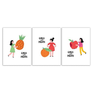 Nordic Watercolor Delicious Fruit And Beautiful Girl Canvas Painting - 15X20Cm No Frame / 3Pcs Set