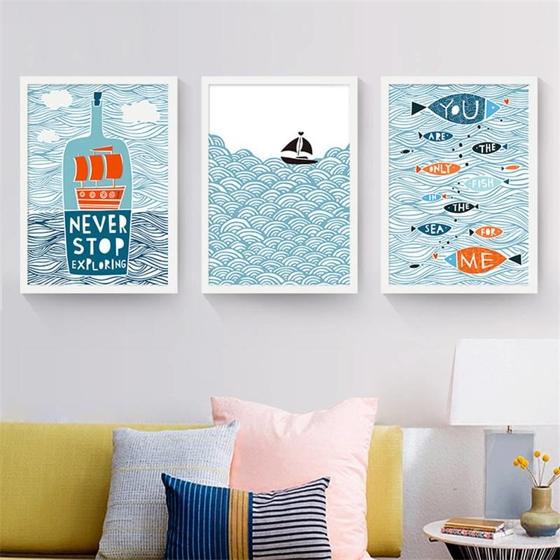 Scandinavian Kids Room Cartoon Ship Canvas Painting
