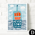 Scandinavian Kids Room Cartoon Ship Canvas Painting - 30X40Cm No Frame / D