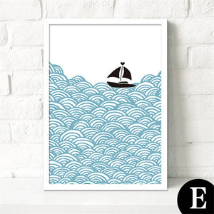 Scandinavian Kids Room Cartoon Ship Canvas Painting - 30X40Cm No Frame / E