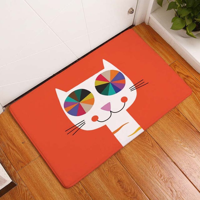Colorful Rainbow Cat Mat