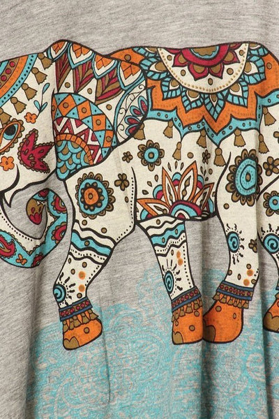 Raw Moda Elephant Print Graphic Tees Tank Top