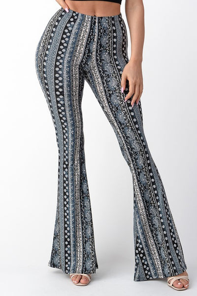 Raw Moda Blue Tear Print Bellbottom Pants