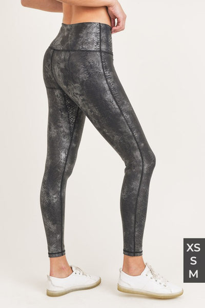 Raw Moda Black Grey Snake Foil Print Highwaist Leggings