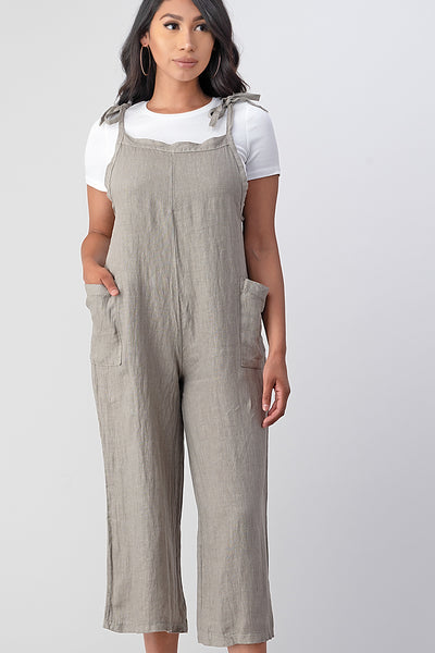 Raw Moda Sides Adjustable Linen Romper