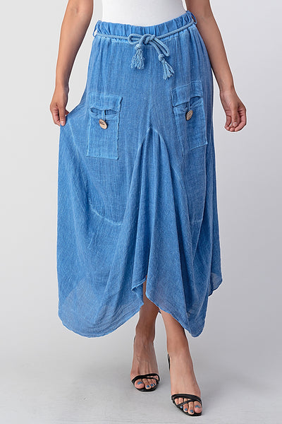 Italian Linen Button Pockets Skirt