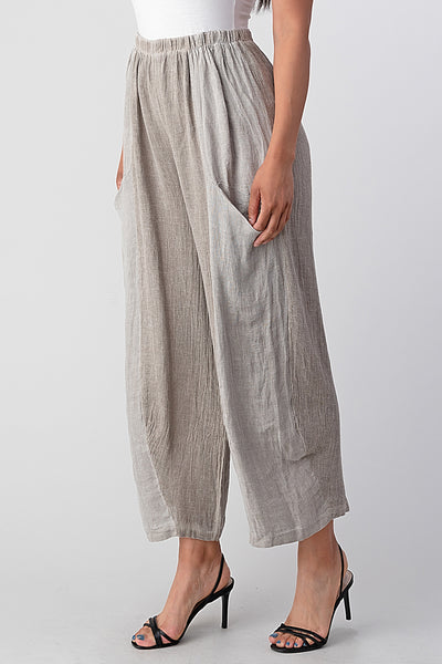 Straight Cotton Linen Pants With Pockets