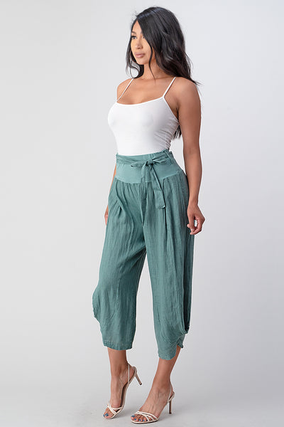 Raw Moda Puro Short Linen Pants With Belt