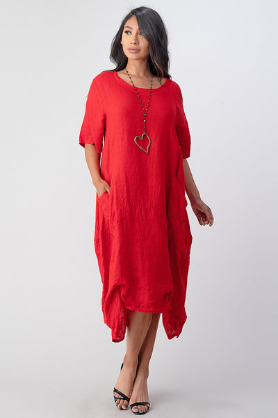 Long  Italian Linen Tie Bottom Dress
