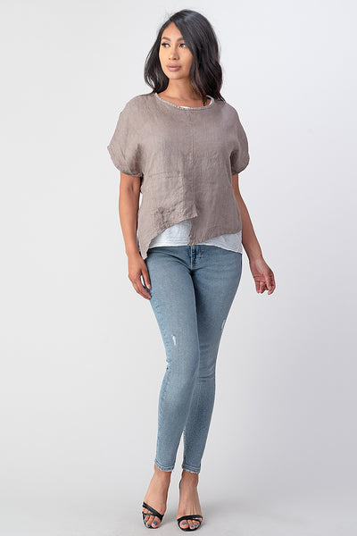 Raw Moda Asymmetrical Two Piece Linen Top
