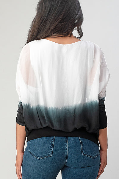 Tie Dye Italian Silk Elastic Sleeves Top