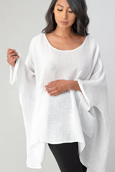 Big Cut Glora Linen Tunic With Front Pockets