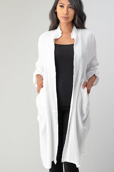 Long italian Linen Jacket With Back Belt