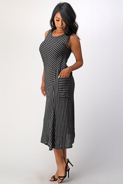Italian Striped Linen Dress