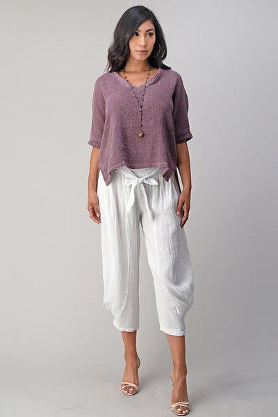 Italian Linen V Neck Top Long Back Raw Moda