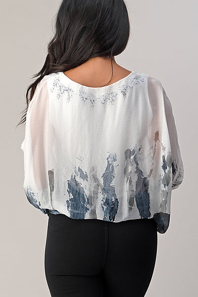 Raw Moda Tie Dye Silk Top