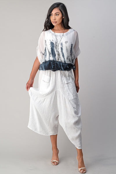 Raw Moda Italian Linen Pants Skirt
