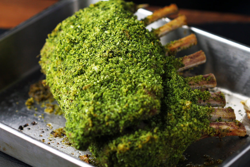 Frenched Lamb Rack with bright Green Basil Crust