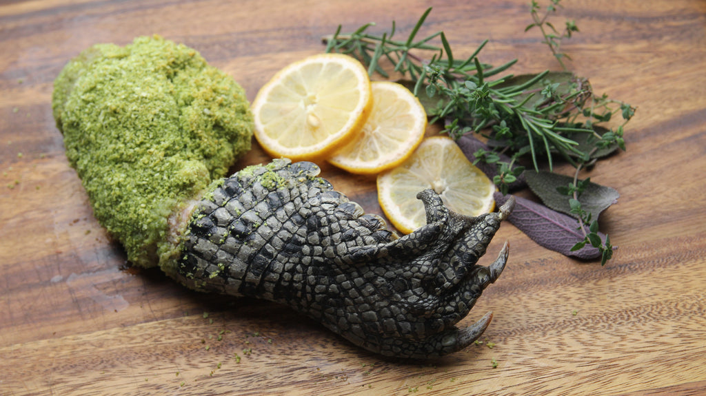 Oven Roasted panko crusted crocodile leg