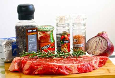 ingredients Grilled Pound Steak with Herby& Spicy Compound Butter