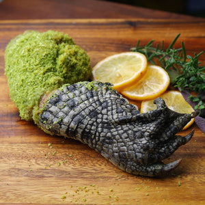 this will be a sigh to behold as a table center, panko herb crust corocdile leg ワニ足ハーブパン粉オーブン焼き