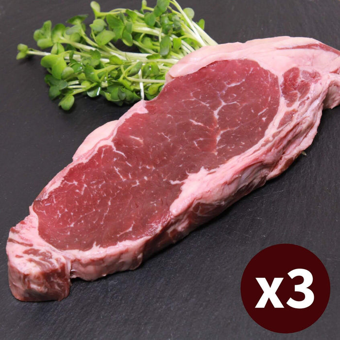 3x Sirloin Strip Steak Grass-fed Beef Set (750g)