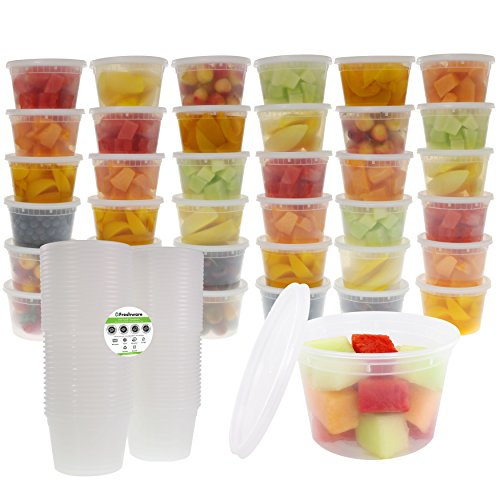 Freshware 36-Pack 16 oz Plastic Food Storage Containers with Airtight Lids - Restaurant Deli Cups, Foodsavers, Baby, Bento Lunch Box, 21 Day Fix, Portion Control, and  Meal Prep Containers -  - fnes