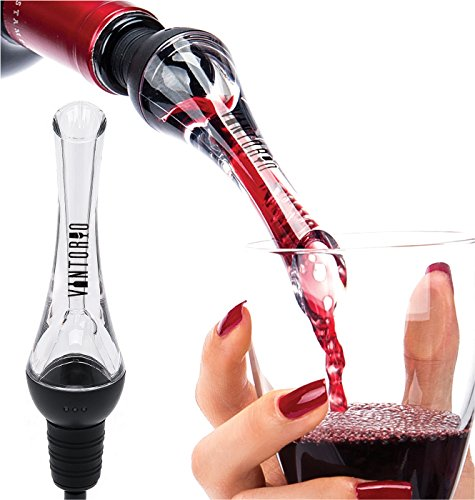 Vintorio Wine Aerator Pourer - Premium Aerating Pourer and Decanter Spout (Black) -  - fnes