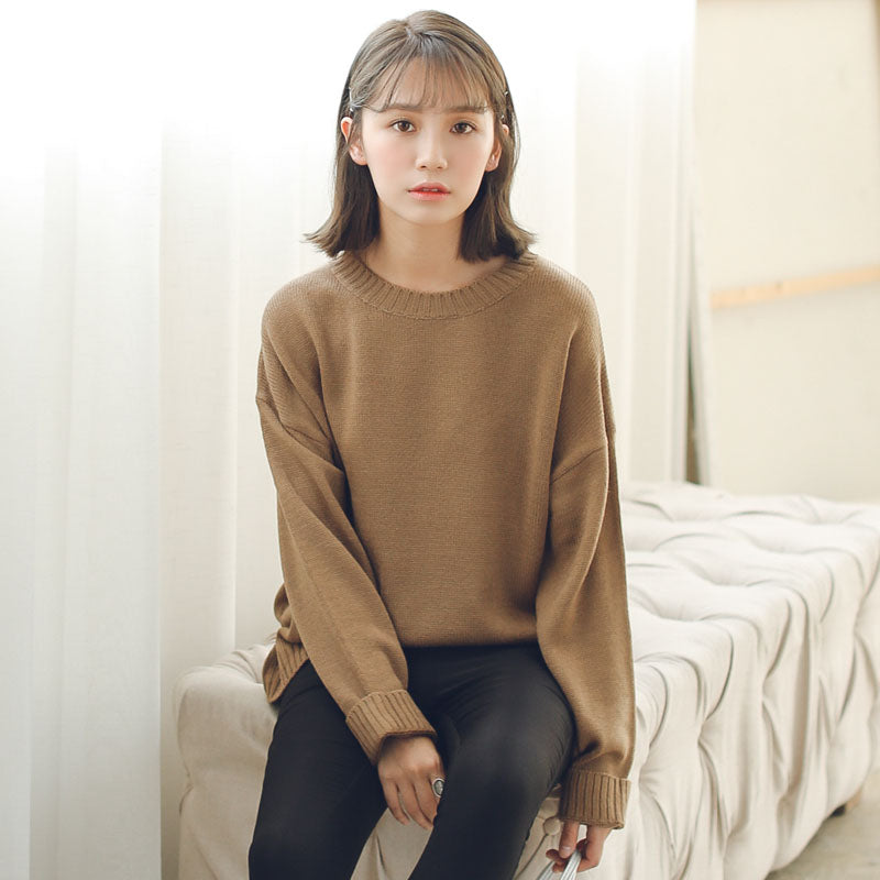 All Match Basic Style Loose Casual Fashion Solid O-neck Long Sleeve Female Sweaters -  - fnes