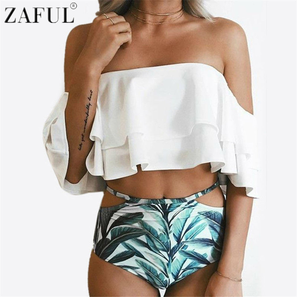 High Waist Off The Shoulder Swimsuit - Women's - fnes
