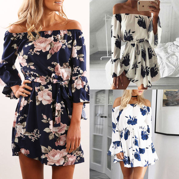Off-the-Shoulder Floral Dress - Clothing - fnes